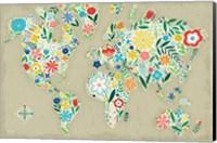 Floral World Tan Fine Art Print