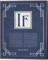 If by Rudyard Kipling - Ornamental Border Blue Fine Art Print