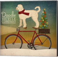 White Doodle on Bike Christmas Fine Art Print