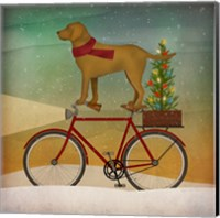 Yellow Lab on Bike Christmas Fine Art Print