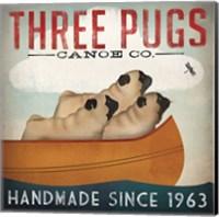 Three Pugs in a Canoe Fine Art Print