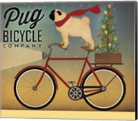 Pug on a Bike Christmas Fine Art Print