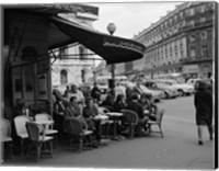 1960s Patrons At Cafe De La Paix Sidewalk Cafe In Paris? Fine Art Print
