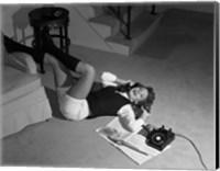 1960s Teenage Girl Lying On Floor Fine Art Print