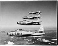 1950s Four Us Air Force F-84 Thunderjet Fighter Fine Art Print