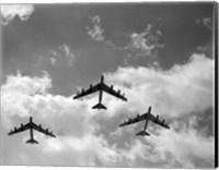 1950s Three B-52 Stratofortress Bomber Airplanes Fine Art Print