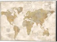 Rustic World Map Cream No Words Fine Art Print