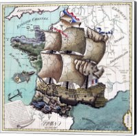 Map Of France As A Ship-1796 Fine Art Print