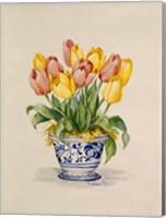 Blue and White Porcelain Tulips Fine Art Print