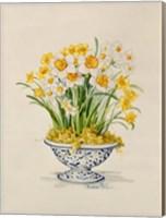 Blue and White Porcelain Daffodils Fine Art Print