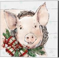 Holiday on the Farm VII on Gray Fine Art Print