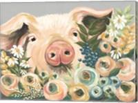 Pig in the Flower Garden Fine Art Print