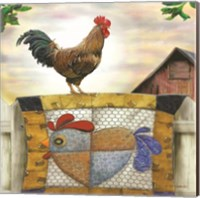 Rooster and Quilt Fine Art Print