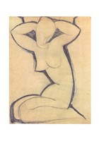 "Cariatide - nude by Amedeo Modigliani - 28"" x 39"""
