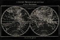 Map of the World Black Fine Art Print