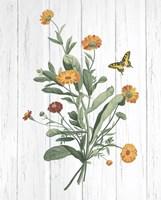 Botanical Bouquet on Wood IV Fine Art Print
