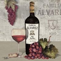 Uncork Wine and Grapes I Fine Art Print
