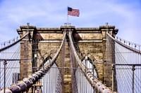 Brooklyn Bridge with Flag Fine Art Print