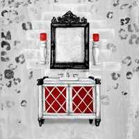 Red Antique Mirrored Bath Square I Fine Art Print