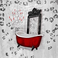 Red Antique Mirrored Bath Square II Fine Art Print