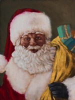 African American Saint Nick Arrives Fine Art Print