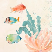 Tropical Teal Coral Medley I Fine Art Print