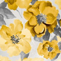 Yellow and Gray Floral Delicate I Fine Art Print