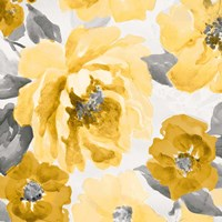 Yellow and Gray Floral Delicate II Fine Art Print