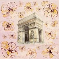 Golden Paris On Floral II Fine Art Print