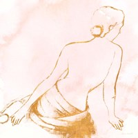 Seated Woman Rose Gold Fine Art Print