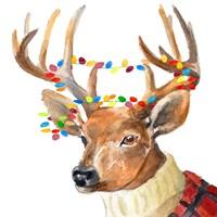 Christmas Lights Reindeer Sweater Fine Art Print