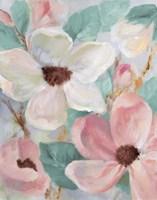 Silently Bloom Teal I Framed Print