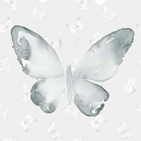 Grey Watercolor Butterflies I Fine Art Print