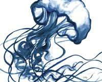 Jelly Fish In Blue Fine Art Print