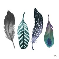 Indigo Feathers Fine Art Print