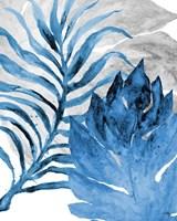 Blue Fern and Leaf I Fine Art Print
