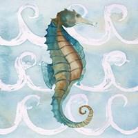 Sea Creatures on Waves II Fine Art Print
