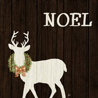 Wooden Deer with Wreath I Fine Art Print