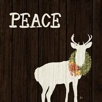 Wooden Deer with Wreath II Fine Art Print