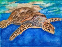 Turtle at Sea Fine Art Print