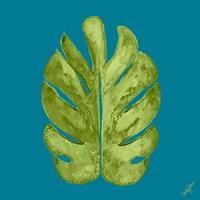 Leaf On Teal I Fine Art Print