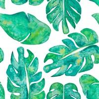 Aqua Leaves On White Fine Art Print