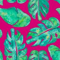 Aqua Leaves On Pink Fine Art Print