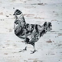 Filigree Chicken on Wood Fine Art Print