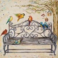 Birds on the Bench Fine Art Print