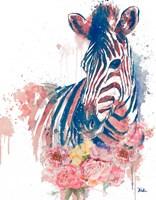 Floral Watercolor Zebra Fine Art Print