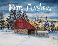 Merry Christmas Barn Fine Art Print
