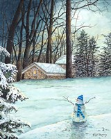 Snowman in Moonlight Fine Art Print