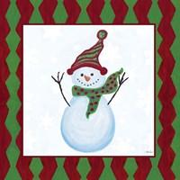 Snowman Zig Zag Square I Fine Art Print