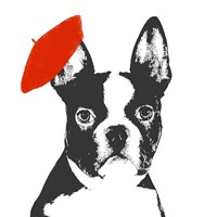 Red Beret Dog Fine Art Print